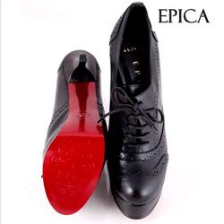 Pantofi Epica negri din piele naturala cu toc de 13 cm