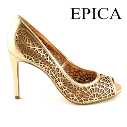 Pantofi cu toc aurii EPICA