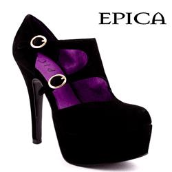 Pantofi Epica negri din piele intoarsa cu toc de 12 cm