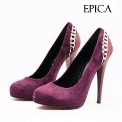 Pantofi Epica mov din piele intoarsa