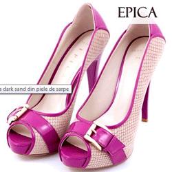 Pantofi Epica dark sand din piele de sarpe Otter Shop