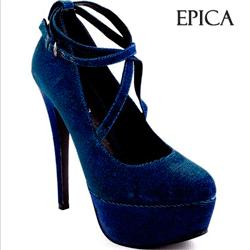 Pantofi Epica material textil albastrii