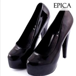 Pantofi piele lacuita neagra Epica
