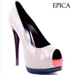 Pantofi piele lacuita Epica Dark Sand