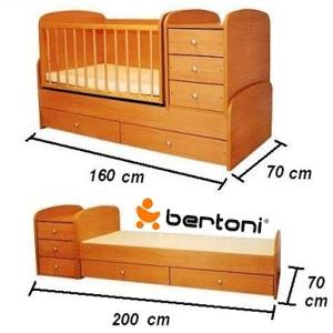 Patuturi din lemn masiv pentru bebelusi cu saltea inclusa