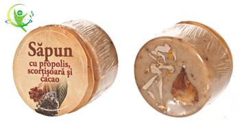 Sapunul natural cu scortisoara, cacao si propolis