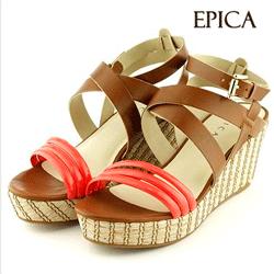 Sandale Epica corai din piele lacuita cu platforma