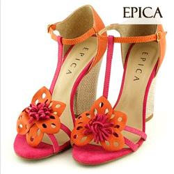 Sandale Epica portocaliu cu fucsia din nabuc
