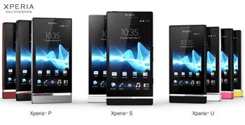 | Sony Xperia P | Sony Xperia S | Sony Xperia U |