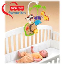 Carusel muzical patut bebelus Fisher Price Baby Zoo