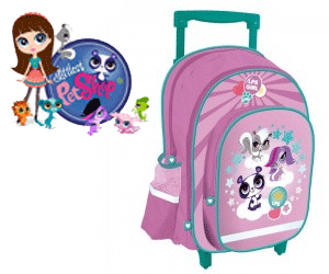 Ghiozdan cu troler copii Litlest Pet Shop pentru scolari si prescolari