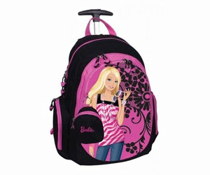 Ghiozdan cu Troler detasabil Barbie Flowers