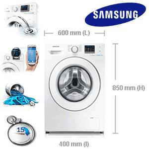 Samsung Slim WF60F4E0N0W, 1000 RPM, 6 kg, Clasa A+, Alb