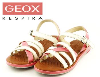 Sandale Geox alb cu roz din piele naturala