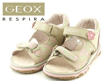 Sandale fetite Geox bej cu detalii florale roz