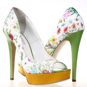 Pantofi Condur cu toc inalt si motiv floral