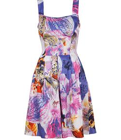 Rochie din bumbac cu bretele si imprimeu floral.