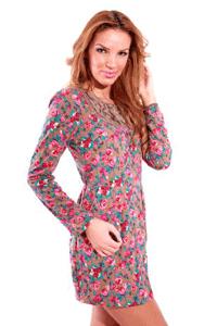 Rochie brodata cu imprimeu floral