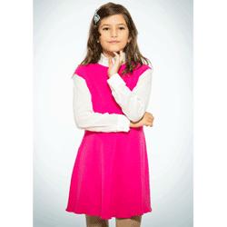 Sarafan roz din bumbac pentru fetite