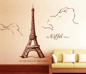 Desen autocolant dormitor: Turnul Eiffel
