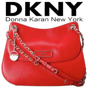 Geanta din piele DKNY Shiny Saffiano Leather Flap