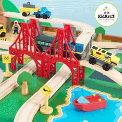 Jucarie Kidkraft Set complet premium de trenulete pentru copii