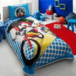 Lenjerie de pat Mickey si Goofy din bumbac pentru dormitorul copilului