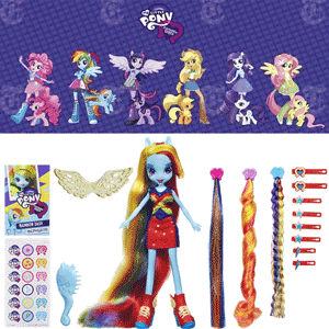 Papusa Equestria Girls Rainbow Dash cu parul lung