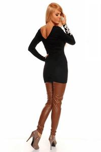 Pulover negru lung Passion calduros si elegant cu model