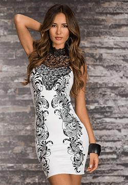 Rochie Fashion Queen - aplicatii cu dantela