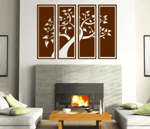 Sticker decorativ autocolant Living Room: Copac in rama