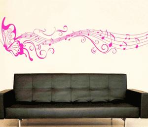 Sticker decorativ perete: Fluture muzical