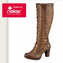 Cizme elegante Rieker Antistress, cizme foarte inalte cu prindere cu siret pana sus