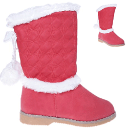 Cizme iarna fetite stil UGG de culoare rosu-roz