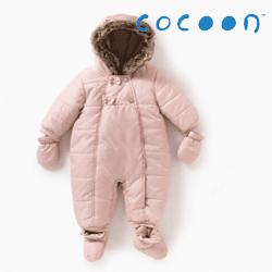 Combinezon de iarna bebe Cocoon Roz cu gluga si manusi detasabile