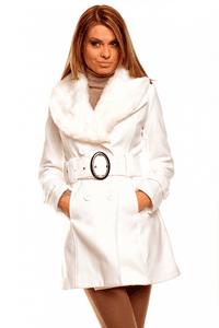 Palton elegant Fantasy Fur White pentru femei