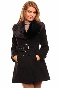 Palton elegant Fantasy Fur Black - pentru femei - guler din blanita