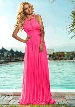Rochie lunga Neon Pink Atmosphere de ocazie