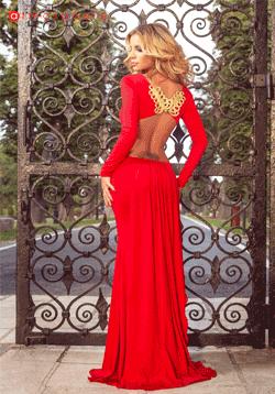 Rochie de seara Atmosphere rosie cu spate gol si broderie delicata