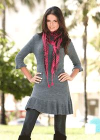 Rochie tricotata cu decolteu in V