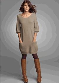 Rochie tricotata cu maneci semi lungi