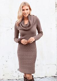 Rochie tricotata office cu maneca lunga
