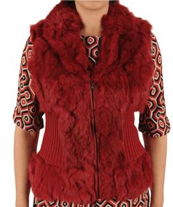 Vesta rosie de dama din blana naturala de iepure