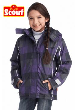 Gecuta de iarna fetite 3-14 ani Scout culoare lila mov in carouri
