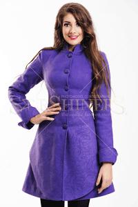 Palton LaDonna Elegance City Purple cu imprimeu elegant si fin