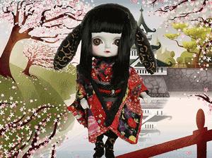 Papusi de colectie Toffee Sakura lucrate manual Riri Fukuju