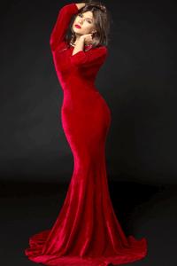 Rochie lunga din catifea rosie - rochie de seara pentru ocazii deosebite