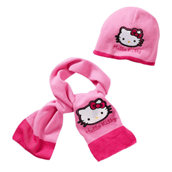 Set caciulita si fular Hello Kitty
