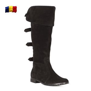 Cizme elegante si inalte de iarna, din piele intoarsa naturala, fabricate in Romania