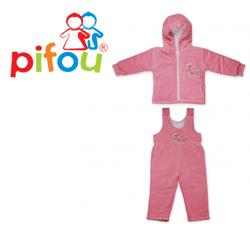 Costum de iarna pentru bebelusi cu vatelina roz